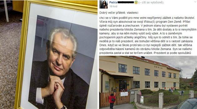 Na jedné pražské školy měly děti házet kameny na portrét Miloše Zemana.