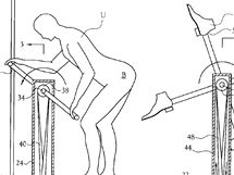 User-operated amusement apparatus for kicking the user's buttocks - 6293874