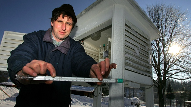 Meteorolog ze Šindelové Rudolf Kovařík.