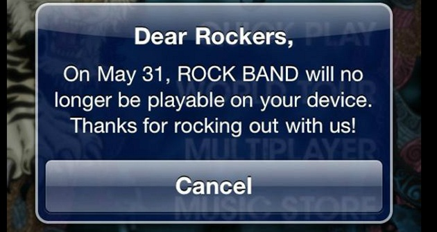 ROCK BAND na iOS končí.
