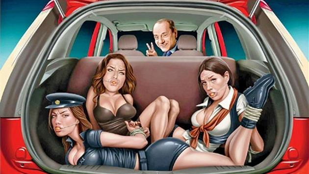 Uniklá reklama na Ford s bıvalım italskım premiérem Berlusconim a třemi spoře oděnımi dívkami v kufru.