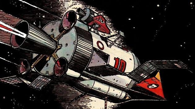 Ústřední motiv komiksu Vzpoura mozků, loď Prométheus
