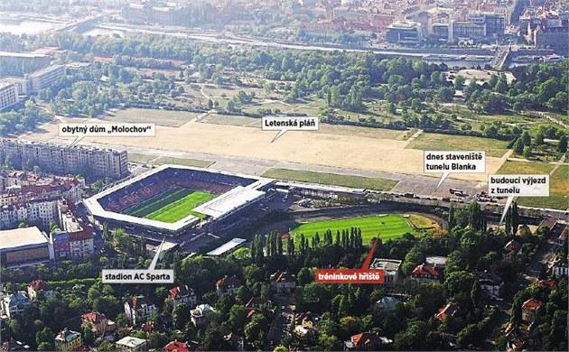Parkoviště fotbalový stadion letná