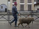 Migrant workers lead a sheep in the village of Krasnaya Polyana, a venue for...