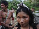 A Munduruku Indian woman warrior carries a monkey on her head in western Para...