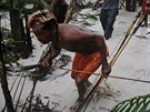 Munduruku Indian warriors search for illegal gold mines and miners in their...