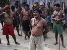 Munduruku Indian warriors hold a meeting while on their search for illegal gold...