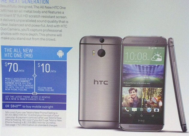 Bro�ura australského operátora Telstra s informacemi o HTC The All New One.