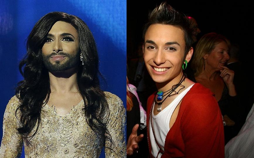 Conchita Wurst alias Thomas Neuwirth v roce 2014 a 2007
