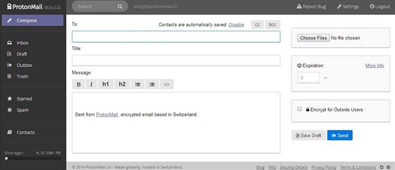 Interface služby ProtonMail