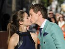 Hannah Bagshawe a Eddie Redmayne na premiéře filmu The Theory of Everything...