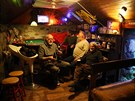 Locals and tourists gather in The Whales Head community pub on the Isle of...