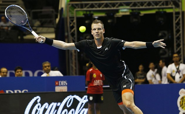 Tomá� Berdych p�i utkání International Premier Tennis League.