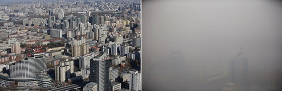 A combination picture shows buildings on a sunny day (L) and a polluted day in...
