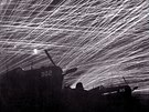 Okinawa A lacework of anti-aircraft fire by the Marine defenders of Yontan...