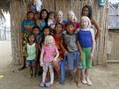 Four albino sisters, from L-R, Iveily, Donilcia, Jade and Yaisseth Morales,...
