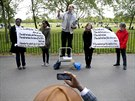 A Christian speaker stands on a stepladder at Speakers' Corner in Hyde Park,...