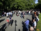 A general view shows the area in Hyde Park where speakers address the crowd at...