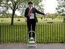 Matthew, 60, a speaker on Christianity, gestures on a stepladder at Speakers'...