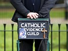 A speaker from the Catholic Evidence Guild stands on a stepladder at Speakers'...