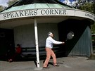 A man uses a tennis racket at Speakers' Corner in Hyde Park, London, Britain...