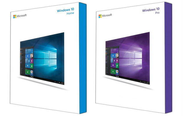 �istá grafika obal� krabic s Windows 10 na DVD.