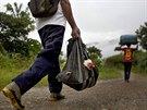 Asuncion Huallpa walks to a coca field that needs harvesting, and carries a...
