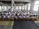 Tahfiz or Koranic students pose for a photograph in Madrasah Nurul Iman...