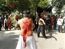 Bangladeshi Shia Muslims flagellate themselves with knives during an Ashura...