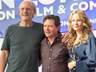 Christopher Lloyd, Michael J. Fox a Lea Thompsonová (Londýn, 17. �ervence 2015)