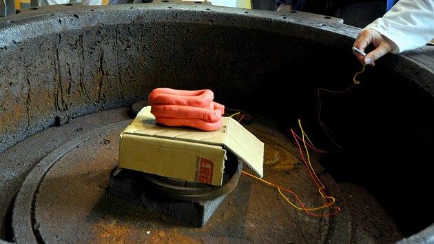 Ukázka přípravy trhaviny semtex s rozbuškou ve střelné komoře v pardubickém Ústavu energetickıch materiálů