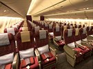 Pohled do business t��dy stroje Boeing 777-200 spole�nosti Qatar Airways.