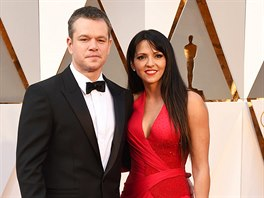 Matt Damon a Luciana Barroso (Los Angeles, 28. února 2016)