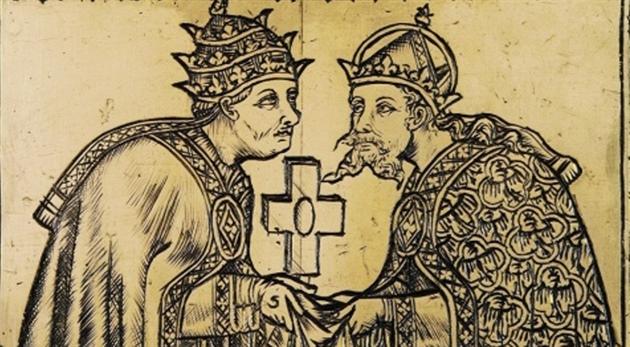 Vyobrazení na kříži papeže Urbana V. z 60. let 14. stol. zachycuje papeže s...