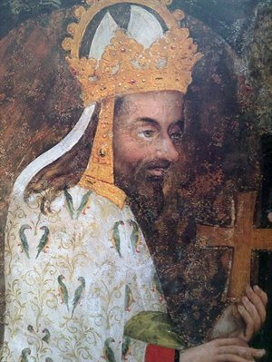 """Jizva ve tváři je zaznamenána nejspíš pouze v tomto jediném dobovém vyobrazení na nástěnné malbě v kostele Panny Marie na Karlštejně v takzvané """"ostatkové scéně"""". Vyobrazení se nejvíce blíží panovníkově skutečné podobě a je na něm viditelný výrazný nepravidelně rostoucí nos i jizva táhnoucí se od kořene nosu (fotografie ostatkové scény v kostele Panny Marie na Karlštejně)."""