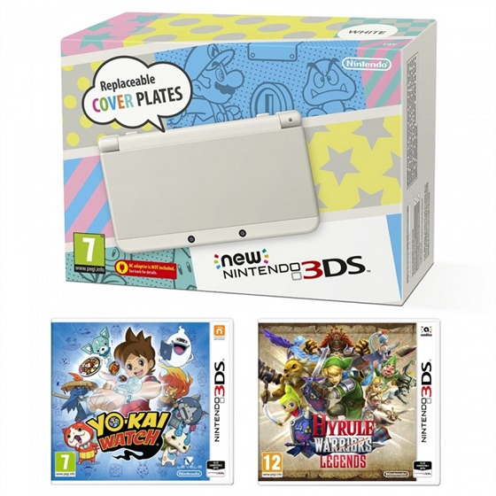 New Nintendo 3DS White + hry YO-KAI WATCH a Hyrule Warriors Legends