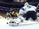 Brank�� San Jose Martin Jones ma�� �anci Nicka Bonina z Pittsburghu.