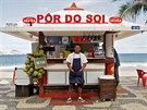 Dayvison Nascimento, a 25-years-old bartender, poses for a portrait at the...
