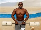 Marcos Da Costa, 46-year-old, poses as he works out at the Arpoador beach in...