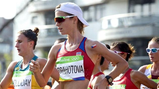 Anežka Drahotová v olympijském závodu žen v chůzi na 20 km. (19. srpna 2016)