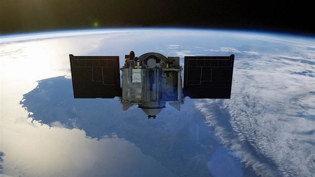 Umělcova představa vypuštění sondy nad Zemí