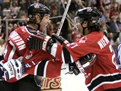 Joe Thornton a Scott Niedermayer slav� g�l ve fin�le Sv�tov�ho poh�ru 2004.