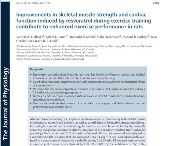 """""""Zlepšení síly kosterního svalstva a srdeční funkce způsobené podáním resveratrolu během cvičení přispívá k lepšímu výkonu u hlodavců"""" (The Journal of Physiology, 31. 5. 2012)"""