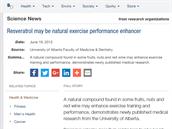 """""""Resveratrol může působit jako přírodní pomocník při cvičení"""" (Science Daily, 19. 6. 2012)"""