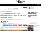 """""""Sklenice červeného vína se vyrovná hodině v posilovně, říká nová studie"""" (MyDaily.co.uk, 26. 1. 2015)"""