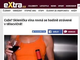 """""""Cože? Sklenička vína rovná se hodině strávené v tělocvičně!"""" (4. 3. 2015, Extra.cz)"""