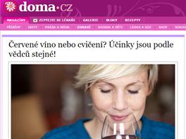 """""""Červené víno nebo cvičení? Účinky jsou podle vědců stejné!"""" (9. 6. 2016, nova.cz)"""