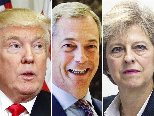 Donald Trump, Nigel Farage a Theresa Mayová