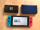 Nahoře 3DS (2011) a New 3DS XL (2015), dole Switch