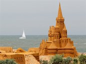 "A sand sculpture is seen during the Sand Sculpture Festival ""Disney Sand Magic""..."